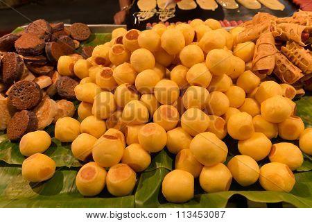Grilled Sweet Potato, Coconut Pancake  And Tokyo Pancake Sausage (Thai Street Dessert)