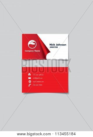 Red And White Page Curl Business Name Card Design