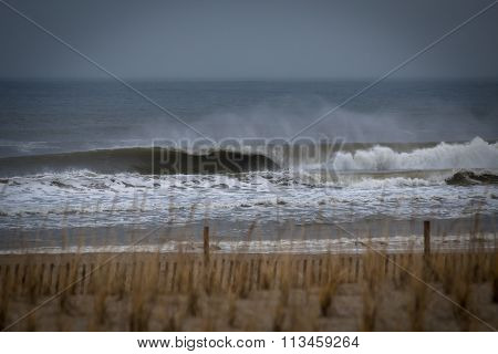 Powerful Wave Breaking Near The Shore