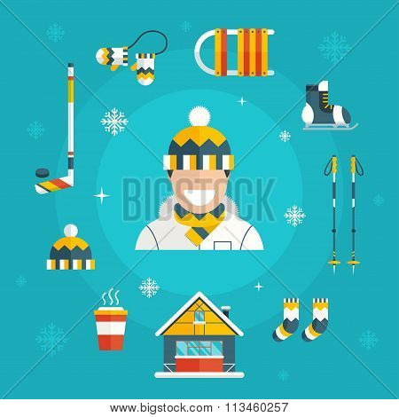 Winter Activity Set Icons With Man In Warm Cloth