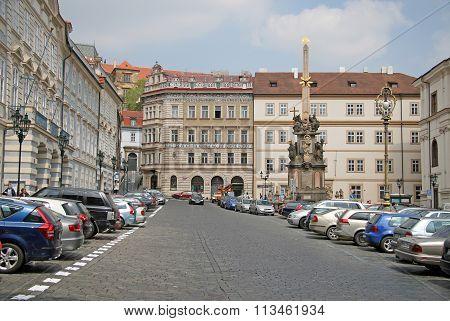 Prague, Czech Republic - April 28, 2010: Malostranske Namesti With Plague Column. It Is A Main Squar