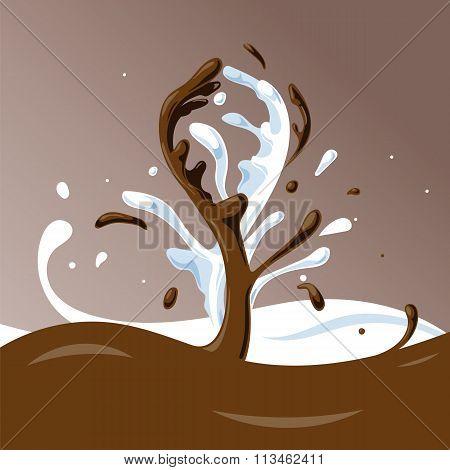 Chocolate Milk Splash. Vector illustration.