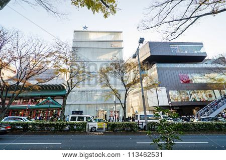Tokyo, Japan - November 24, 2013: Tourists Shopping On Omotesando Street