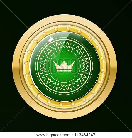 Guaranteed gold label.Gold button with green stone and gold