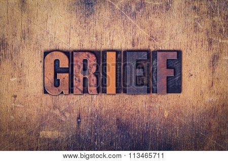 Grief Concept Wooden Letterpress Type