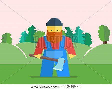 Vector Lumberjack With Axe