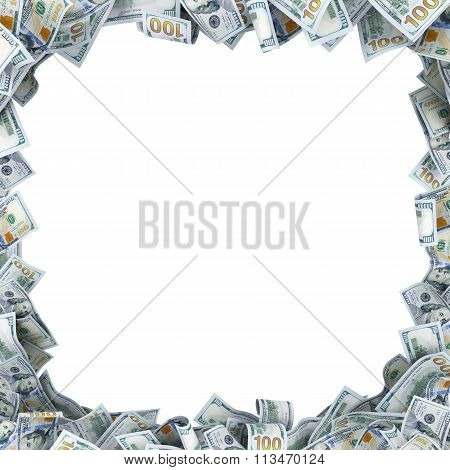 Lot Of 100 Dollar Bancnotes With A Place For Your Text