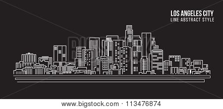 Cityscape Building Line art Vector Illustration design - Los Angeles City