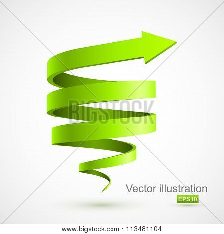 Green spiral arrow 3D
