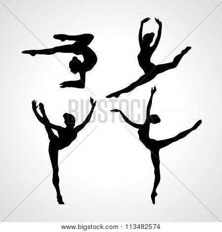 Silhouettes Of Gymnastic Girls. Art Gymnastics Vector Set