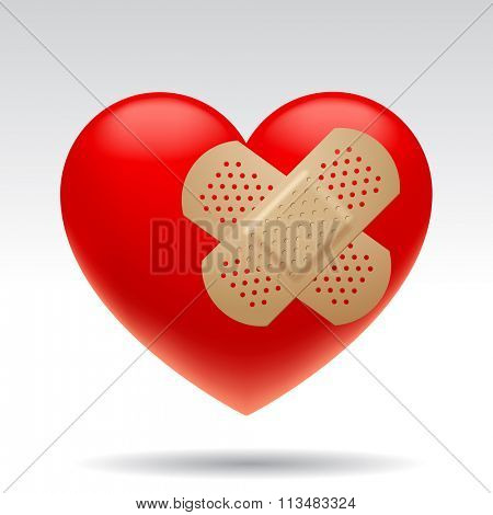 Three dimensional wounded red heart with medical patches isolated on white background. Contain the Clipping Path