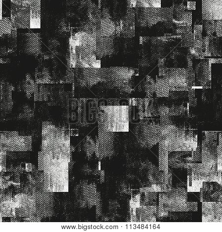 art abstract monochrome black, grey and white graphic tiled background; seamless geometric pattern