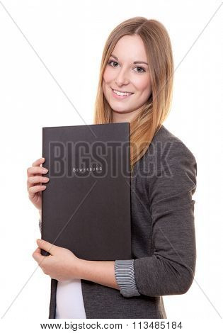 Young woman holding application file with german term Bewerbung (in engl. application). All on white background.