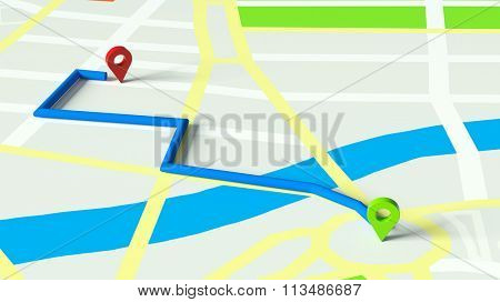 GPS navigation on city map with start and finish (3D Rendering)
