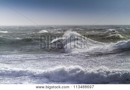 Rough Sea On A Sunny Day
