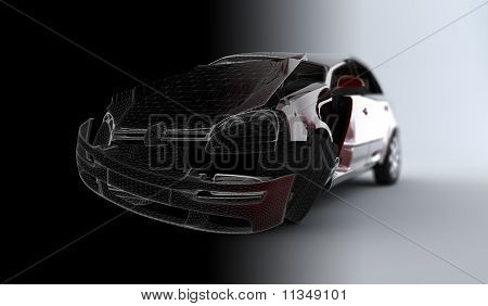 Wireframe Accident Car