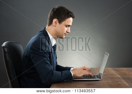 Side View Of Businessman Using Laptop At Desk