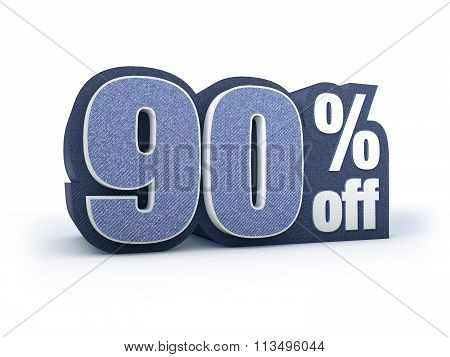 90 Percent Off Denim Styled Discount Price Sign