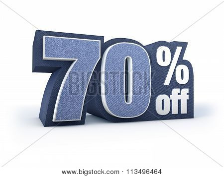 70 Percent Off Denim Styled Discount Price Sign