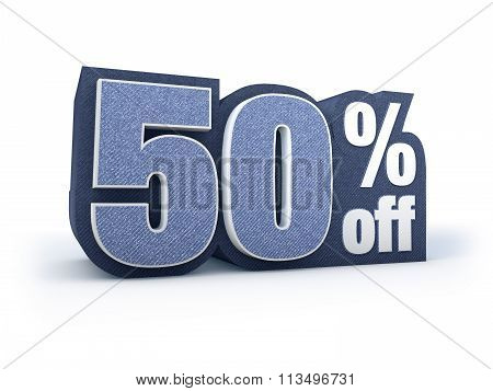 50 Percent Off Denim Styled Discount Price Sign