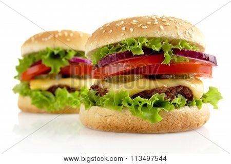 Big Cheeseburgers Isolated On White Background