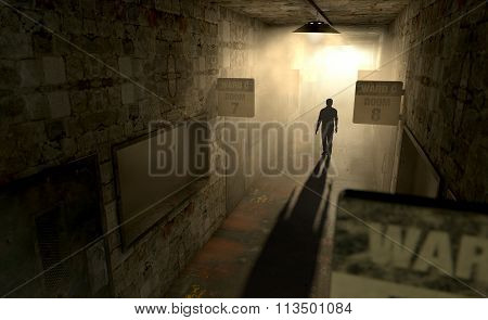 Mental Asylum With Ghostly Figure