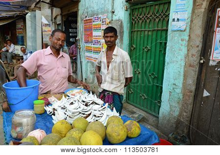 Food stand of coconuts in Dhaka