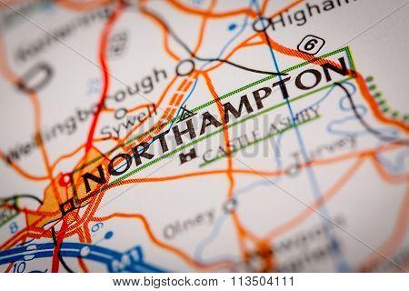 Northampton City On A Road Map