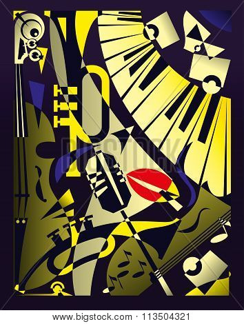 Vector Illustration For Design Banner Jazz Music Festival In Retro Geometric Abstraction Style