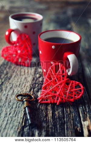 Valentine's Day: Coffee For Two And Red Hearts
