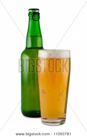 Beer, Bottle, Glass, Isolated On White Background Clipping Path.