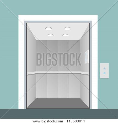 Elevator With Opened Door In Vector