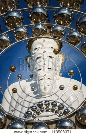 White Budda Image At Wat Pha Sorn Keaw In Thailand