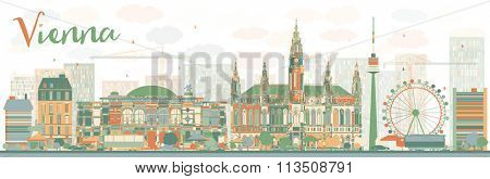 Abstract Vienna skyline with color landmarks. Vector illustration. Business travel and tourism concept with historic buildings. Image for presentation, banner, placard and web site.