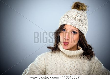 Sexy Flirtatious Young Woman In Winter Fashion