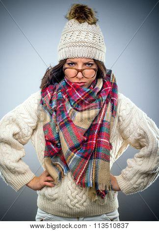 Grumpy Young Woman In Winter Fashion