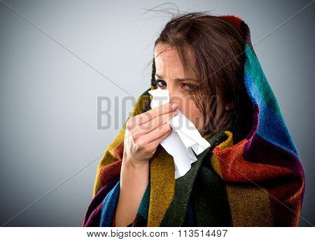 Young Woman With A Winter Cold