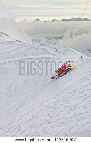 Ratrack At Work On Kasprowy Wierch Peak In Zakopane In Winter