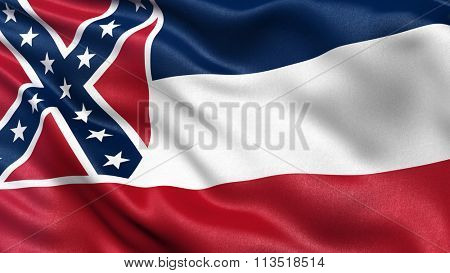 US state flag of Mississippi with great detail waving in the wind.