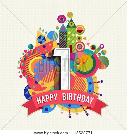 Happy Birthday 1 Year Greeting Card Poster Color