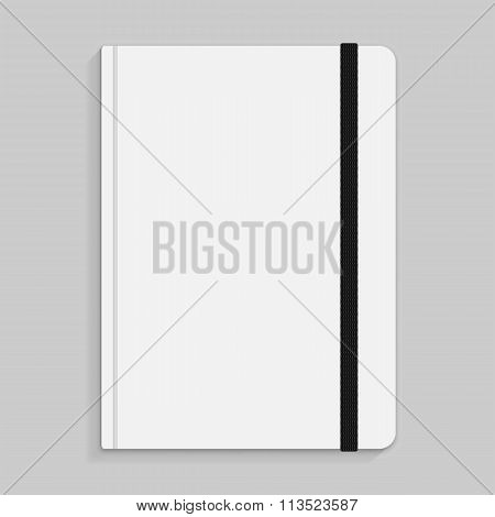 Black copybook with elastic band bookmark illustration.
