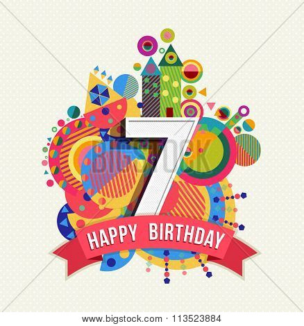Happy Birthday 7 Year Greeting Card Poster Color