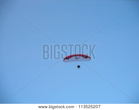 Silhouette Of Unidentified Skydiver Parachutist