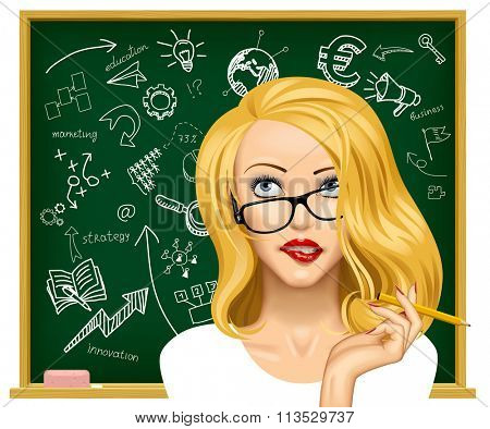 Face of a pretty blonde business woman in glasses looking up and biting her lips near the blackboard with hand drawn business icons. Education concept vector illustration