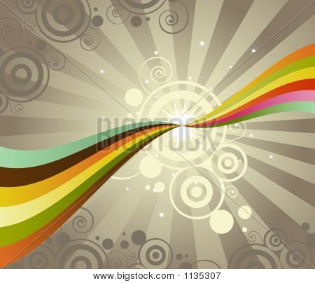 two rainbows touch points creating a bright burst - unusual colors and circular patterns give this a retro feel poster