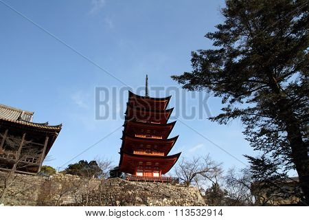 Five story pagoda of Itsukushima Shrine in Miyajima Hiroshima Japan poster