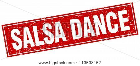 Salsa Dance Red Square Grunge Stamp On White