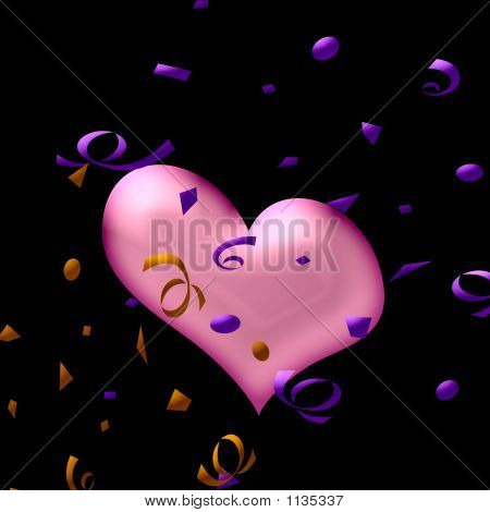 abstract confetti and heart on black background poster
