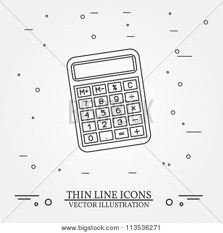 Calculator Thin Line Design. Calculator Pen Icon. Calculator Pen Icon. Calculator Pen Icon Drawing.