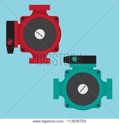 Heating Circulating Pump. Vector Illustration. Flat Icons.